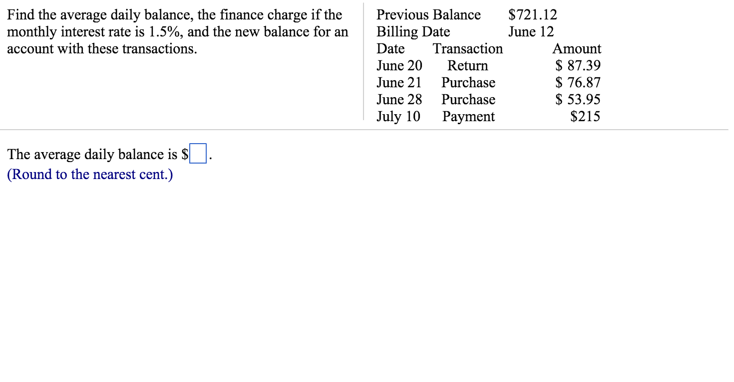 find the average daily balance the finance charge chegg com