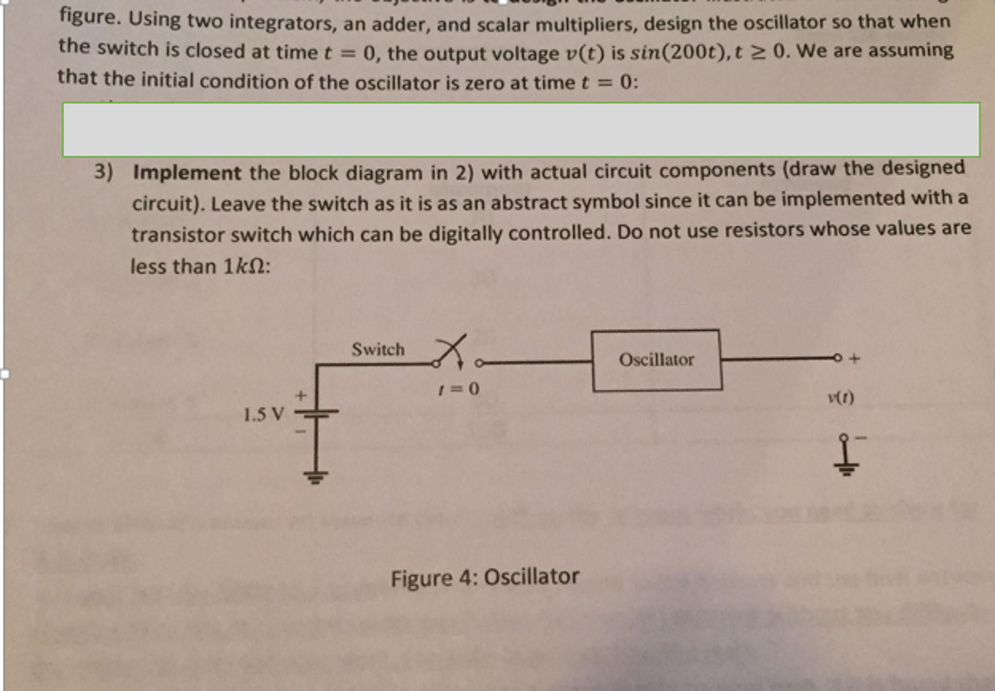 Implement the block diagram in 2) with actual circ