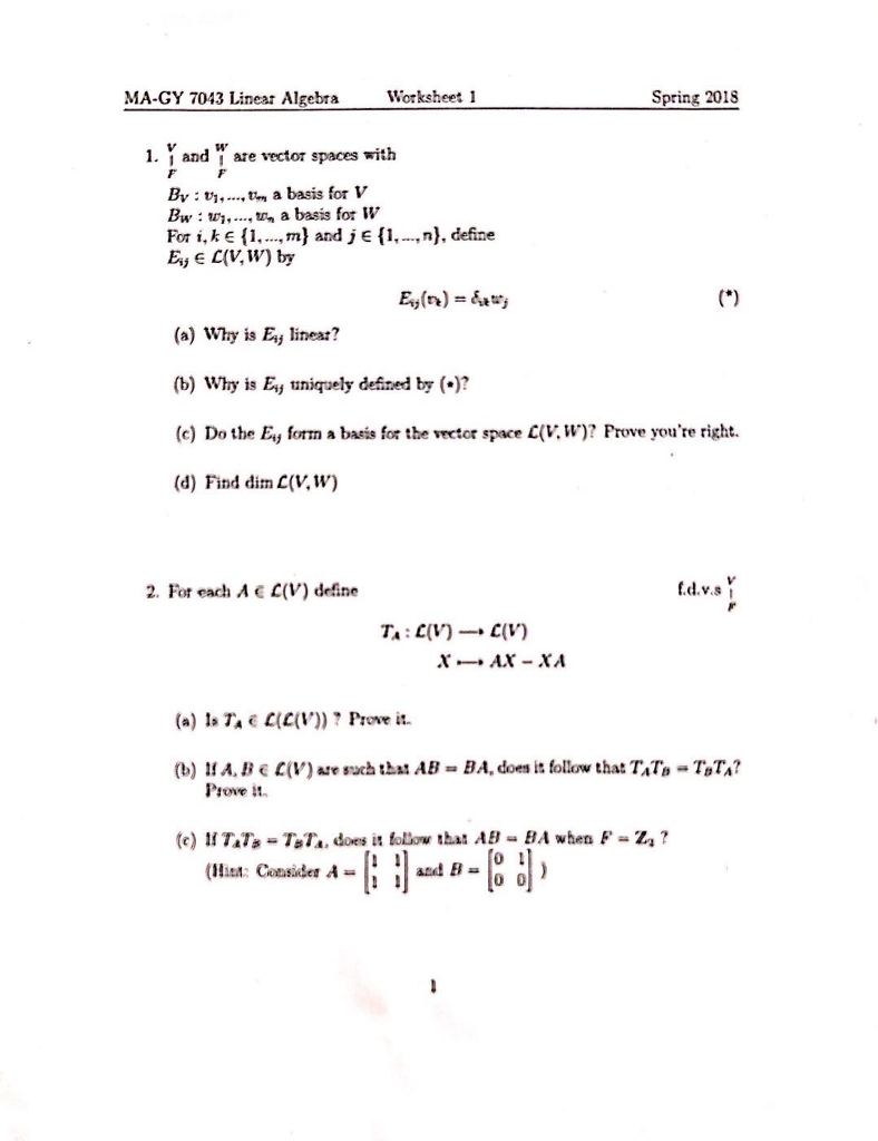 Worksheets F Ma Worksheet solved ma gy 7043 linear algebta worksheet 1 spring 201s question y and are vector spaces with bv m a basis f