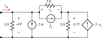 In the following circuit,, find v_x.