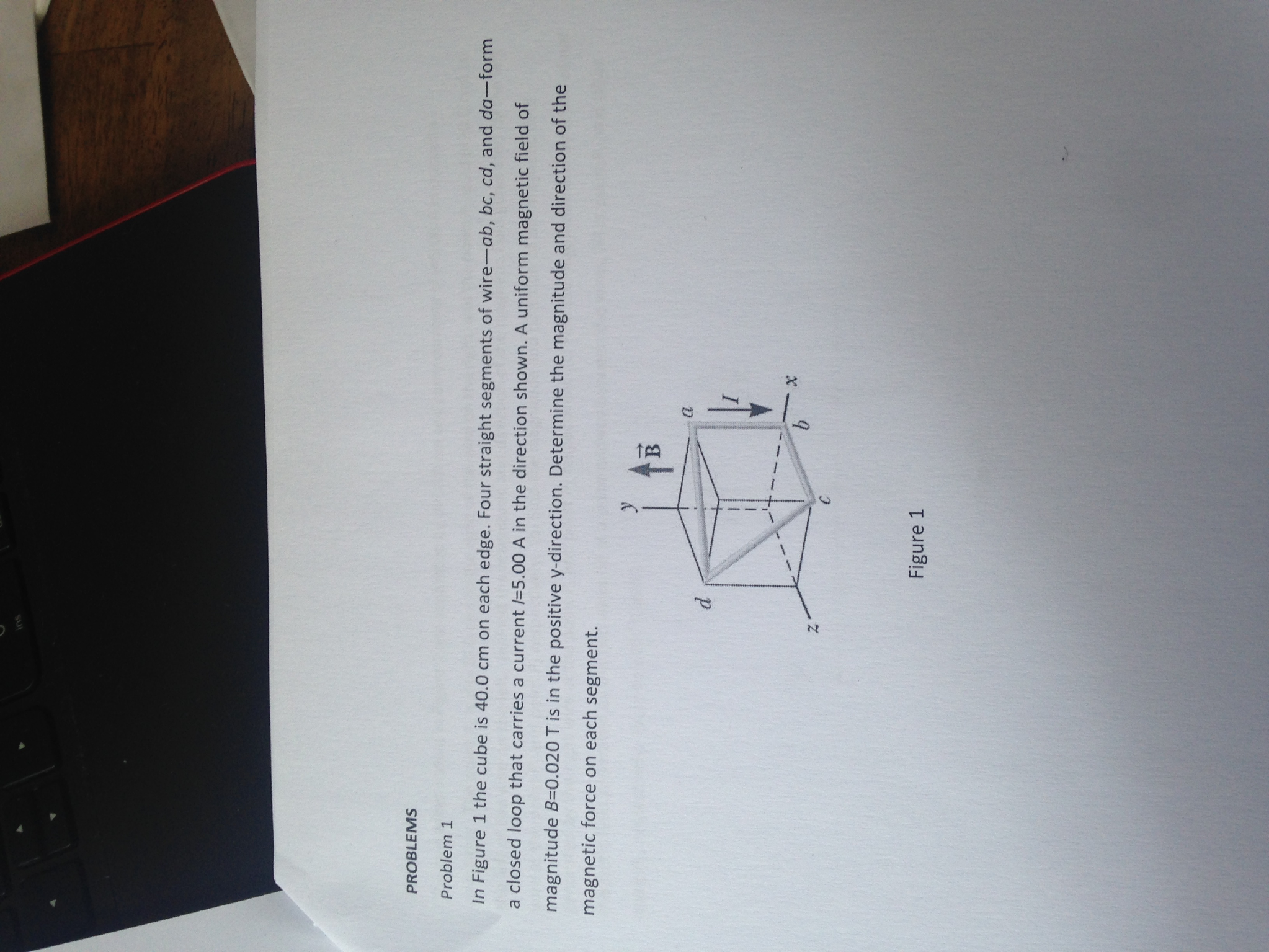 Solved: In Figure 1 The Cube Is 40.0 Cm On Each Edge. Four ...