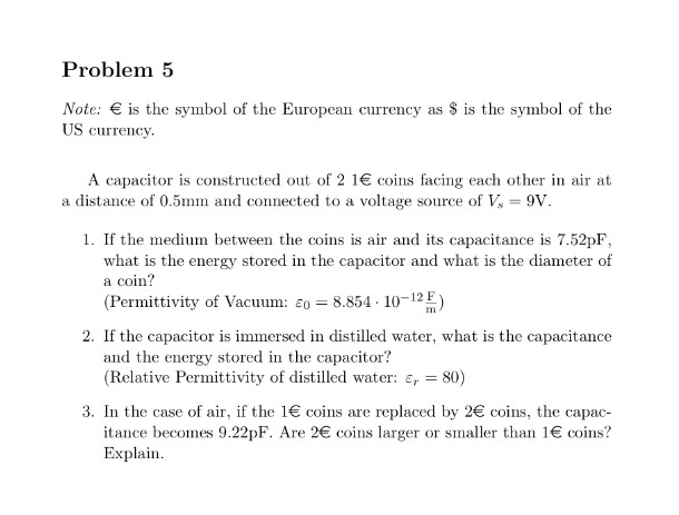 Solved Problem 5 Note Is The Symbol Of The European Curr
