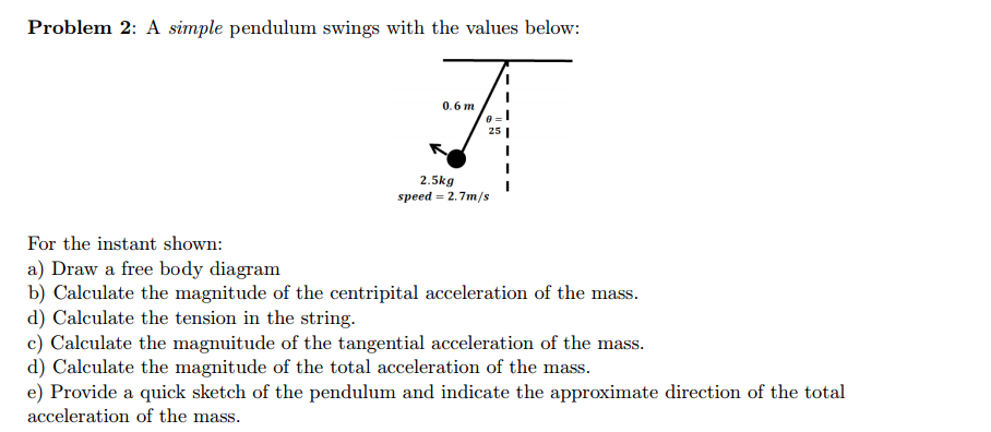 Amazing Solved A Simple Pendulum Swings With The Values Below Fo Wiring 101 Xrenketaxxcnl