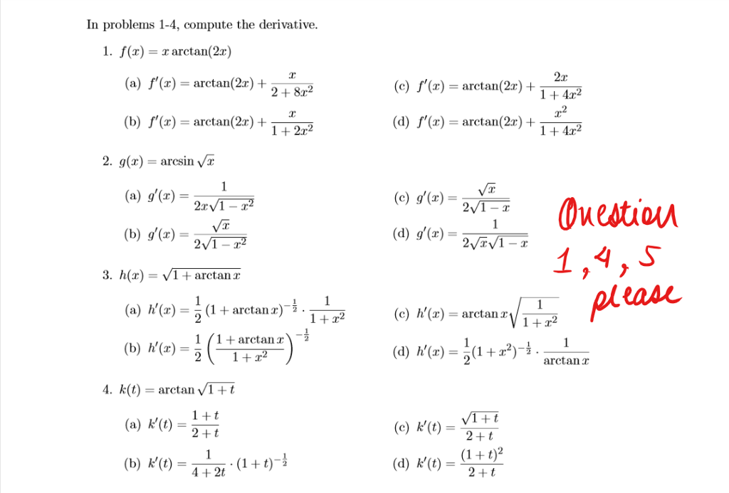 Solved: In Problems 1-4, Compute The Derivative F(x)=x Arc ...