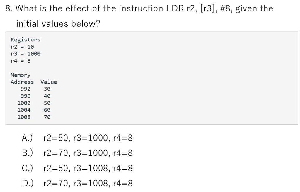 Solved: 8. What Is The Effect Of The Instruction LDR R2 ...