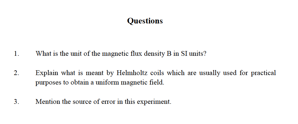 Solved: What Is The Unit Of The Magnetic Flux Density B In