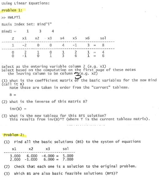 Using Linear Equations: Problem 1: >> HWLPT1 Basis      Chegg com
