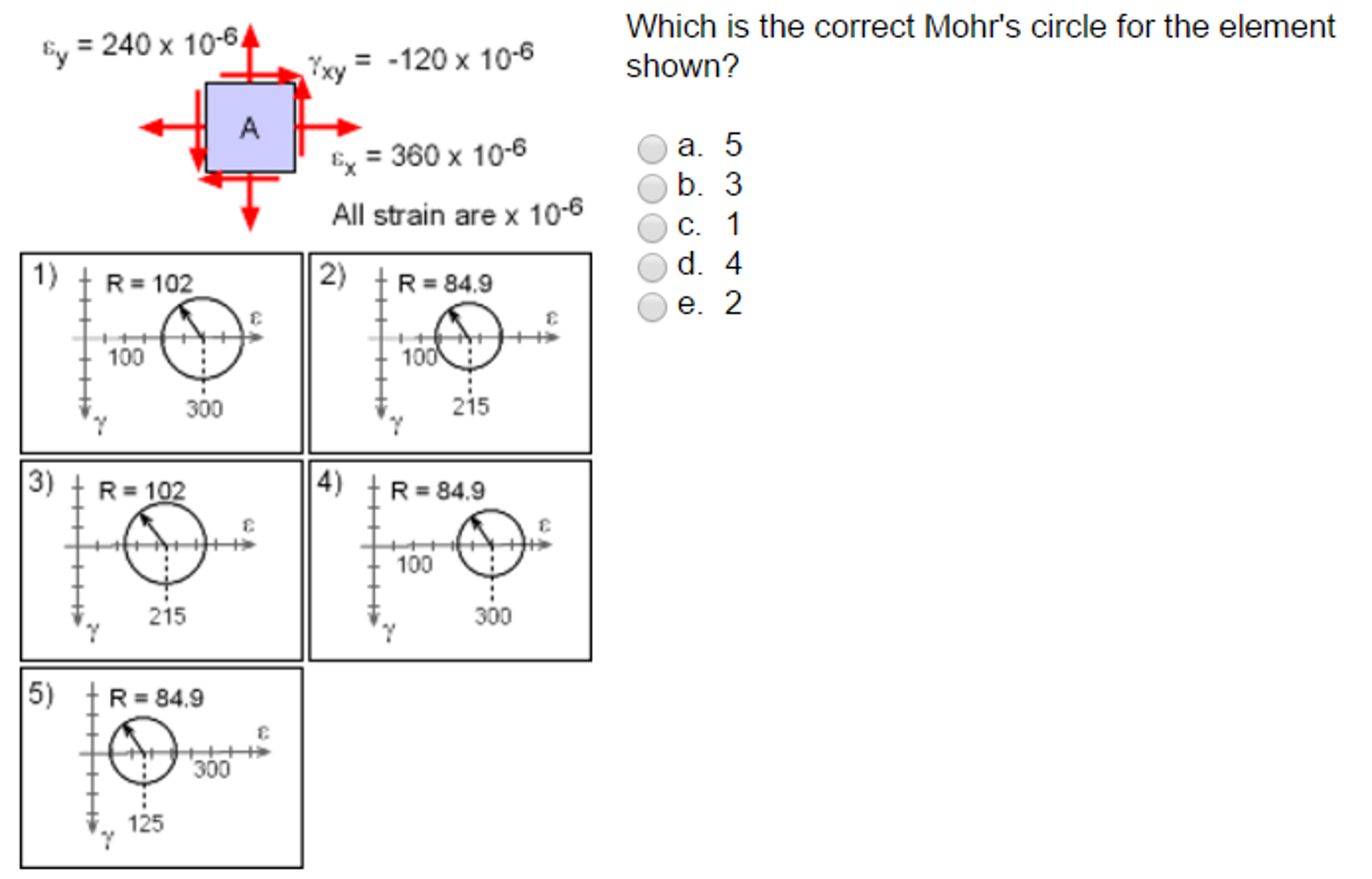 solved which is the correct mohr s circle for the element rh chegg com