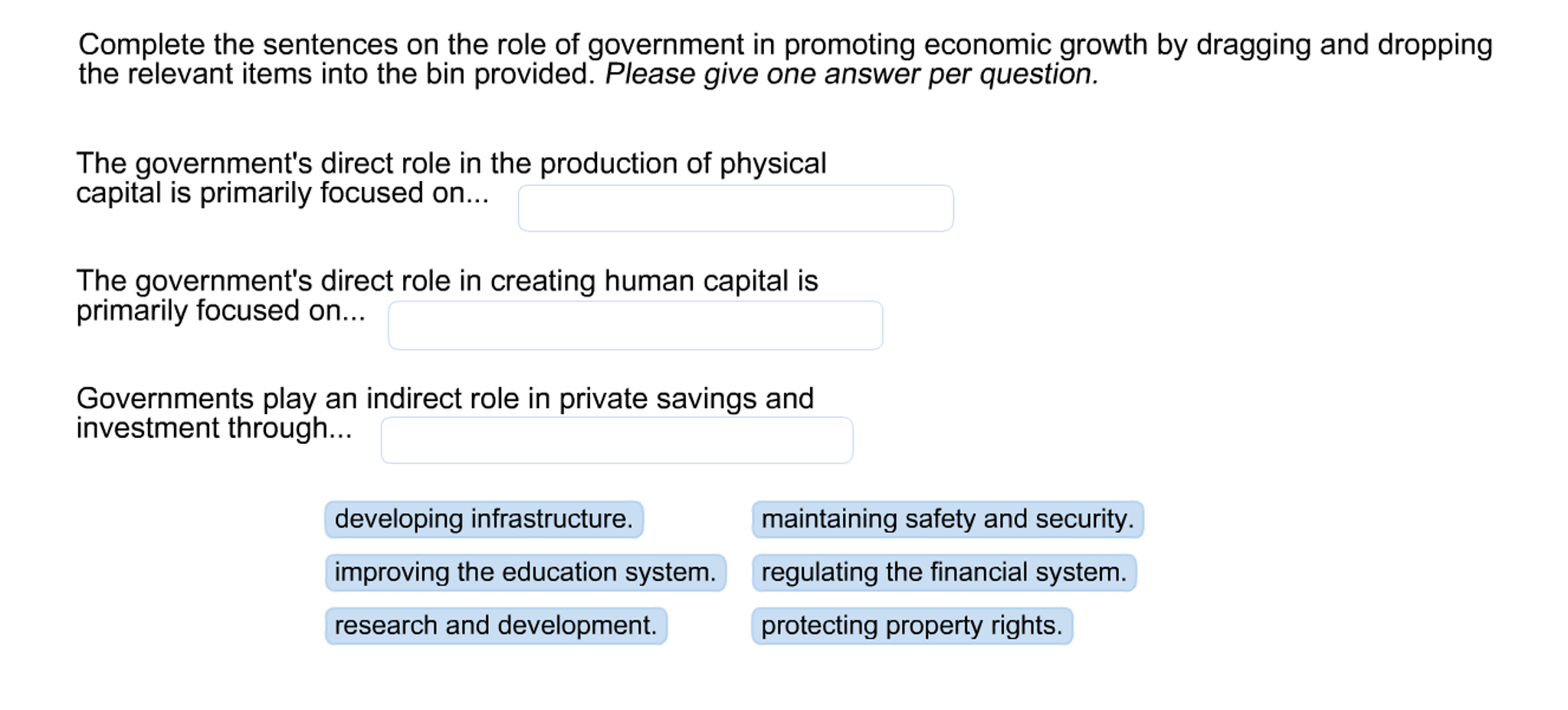 Solved: Complete The Sentences On The Role Of Government I ...