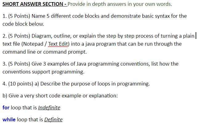 Name 5 Different Code Blocks And Demonstrate Basic    | Chegg com