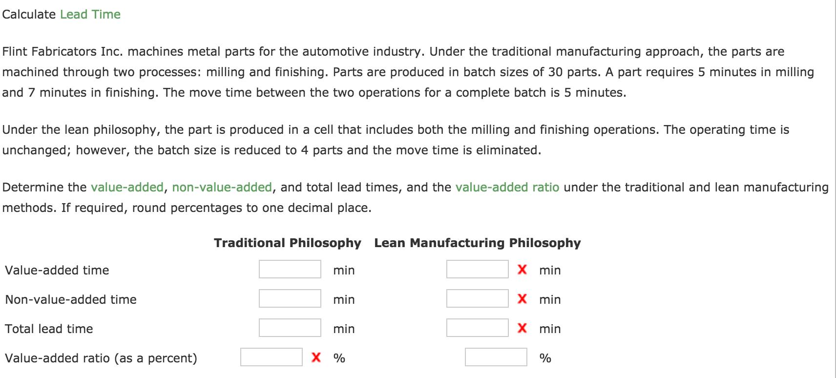 Solved: Calculate Lead Time Flint Fabricators Inc  Machine