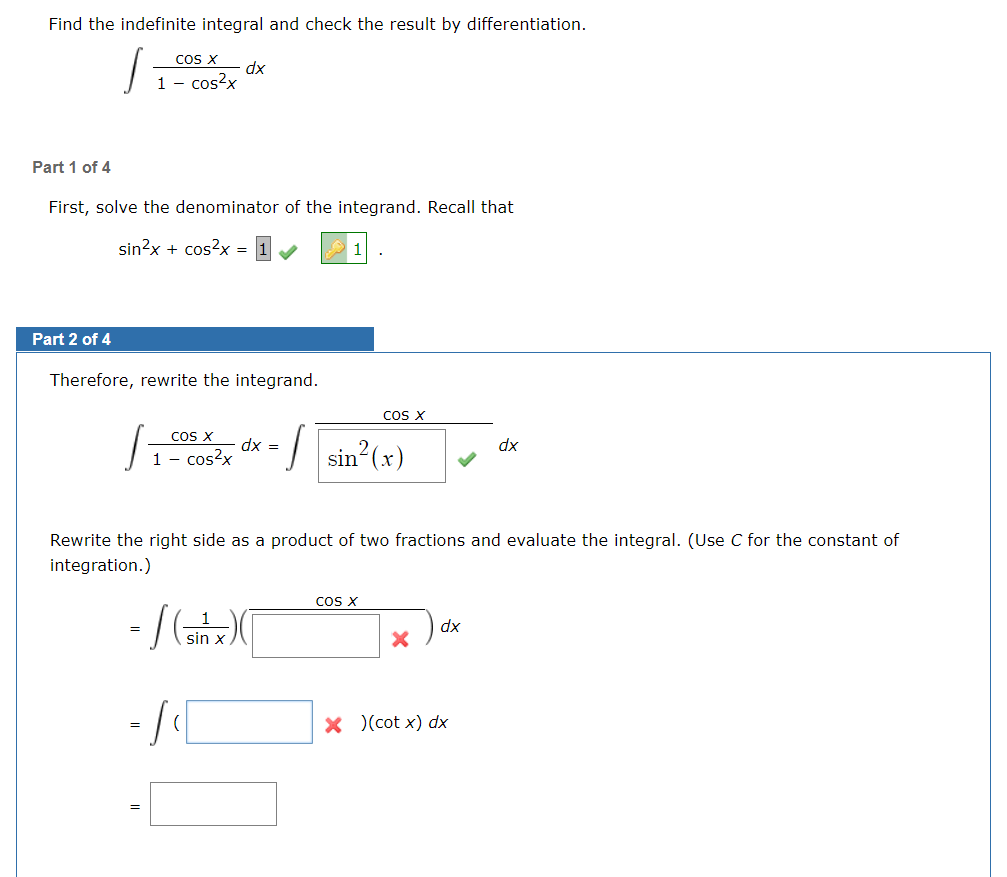 Indefinite integration homework answers