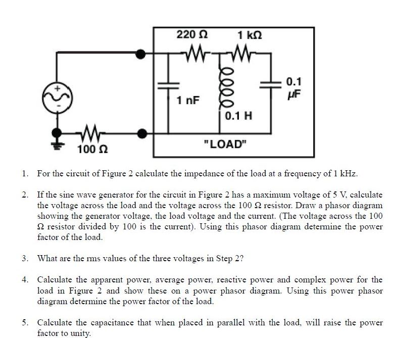 Solved for the circuit of figure 2 calculate the impedanc 220 2 1 km l 01 1 nf 01 h load 100 n 1 ccuart Images