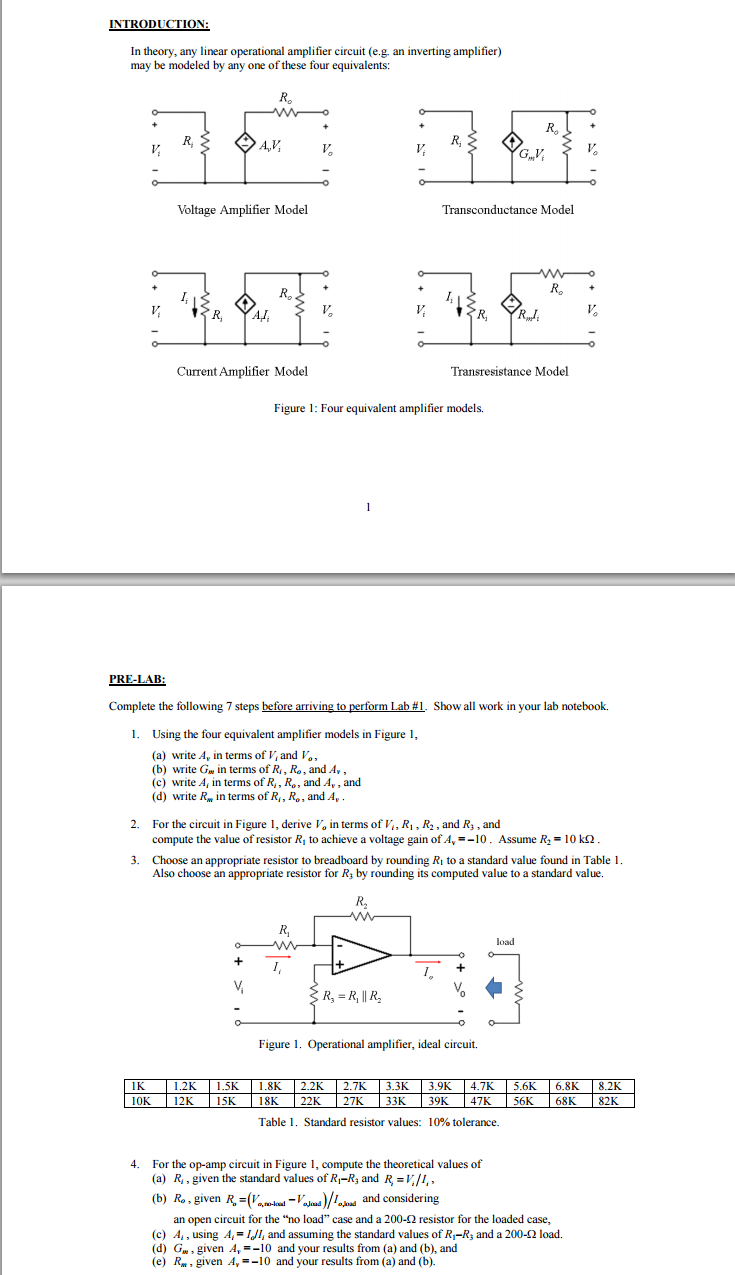 Solved Amplifier Models Using The Four Equivalent Amplifi To Having One 4 Resistor In Circuit Introduction Theory Any Linear Operational Eg An Inverting