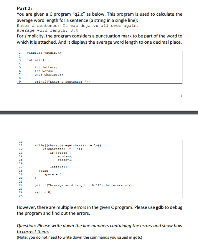 Solved: Part 2: You Are Given A C Program