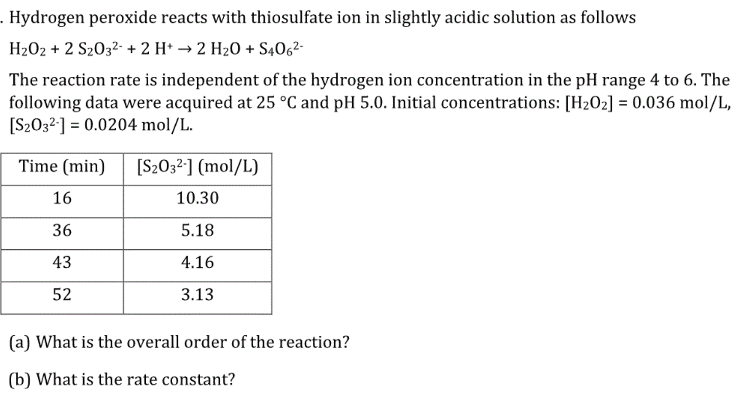 Solved Hydrogen Peroxide Reacts With Thiosulfate Ion In S