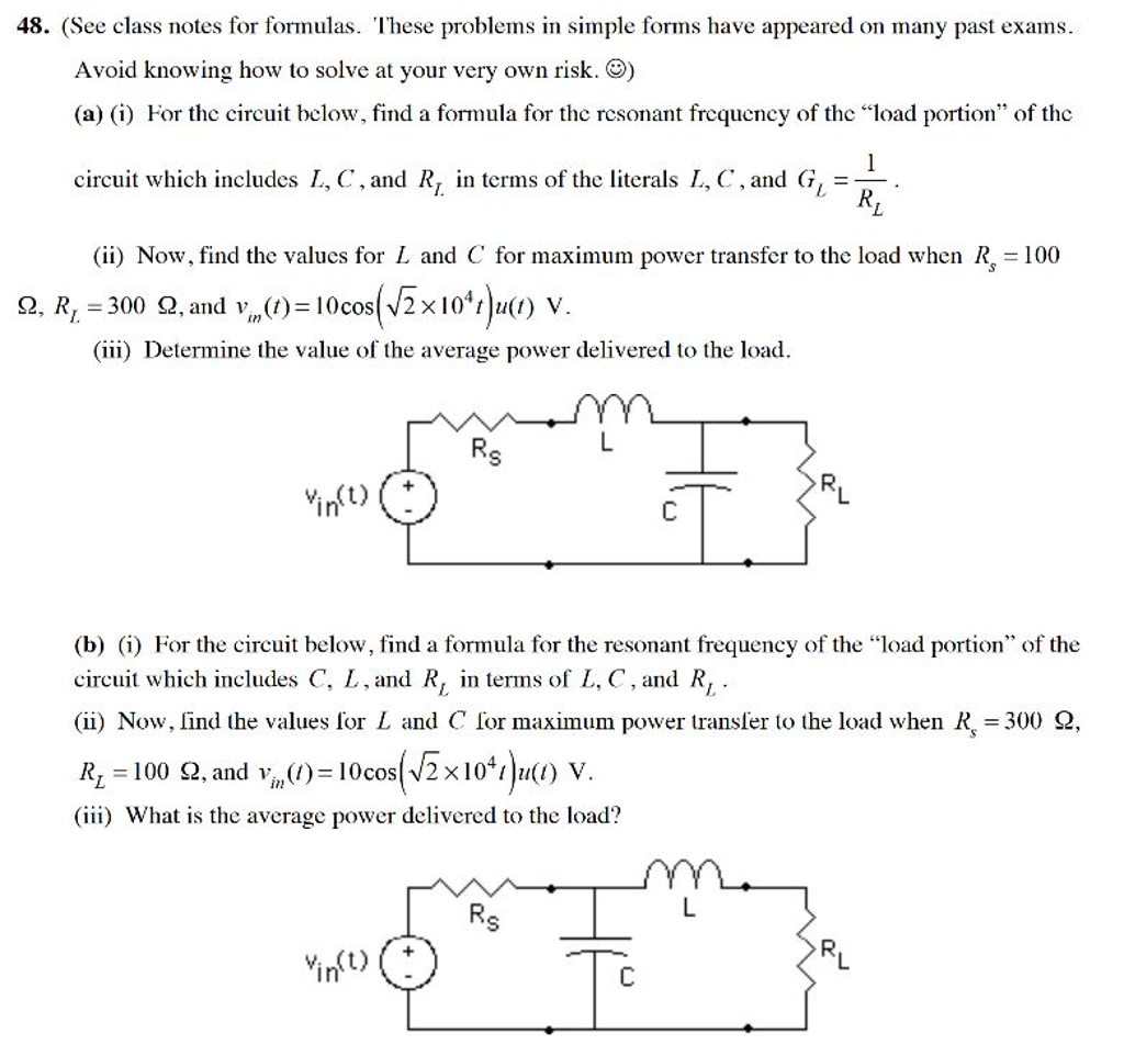 See Class Notes For Formulas These Problems In Si And Diagrams Question Simple Forms Have Appeared On Many Past Exams Av