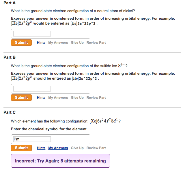 Solved What Is The Ground State Electron Configuration Of