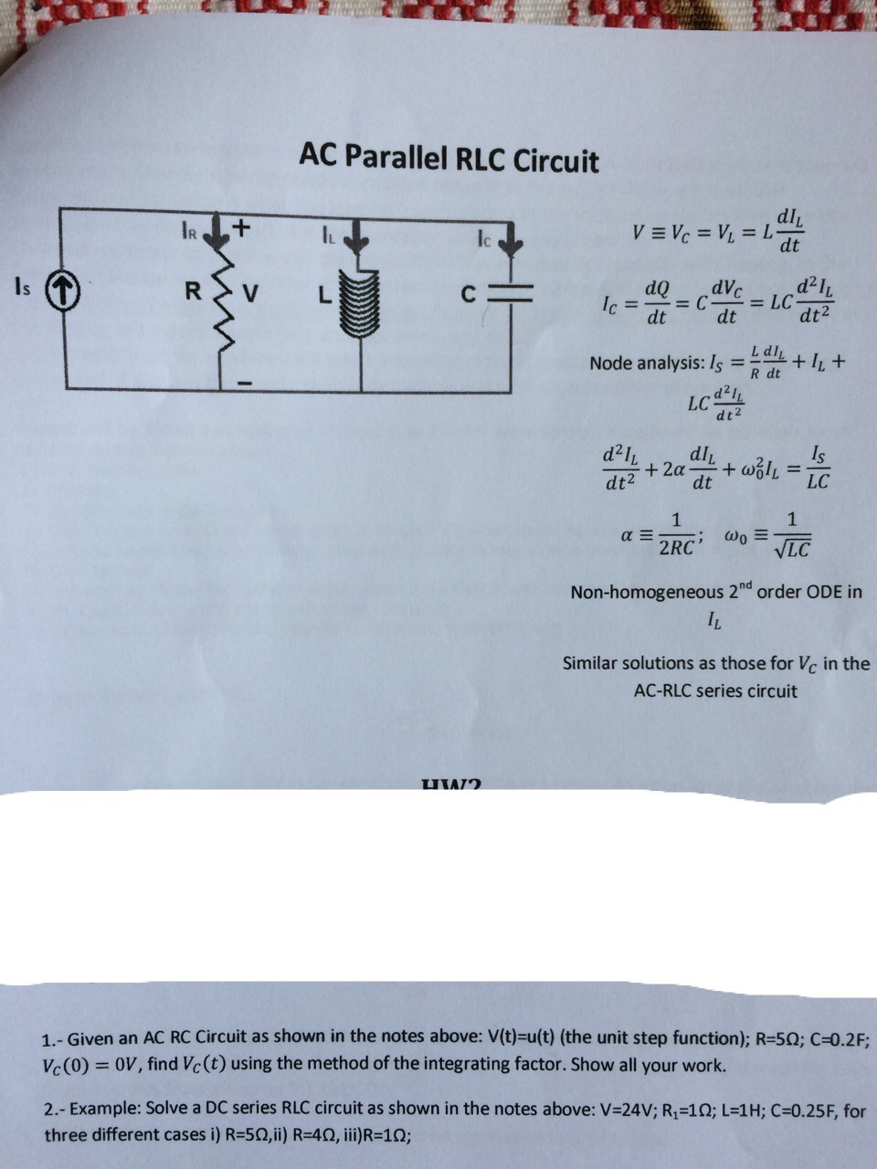 Given An Ac Rc Circuit As Shown In The Notes Above Dc