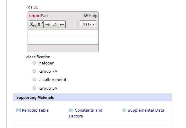 Solved D 51 Chempad Help Greek Classification O Haloge