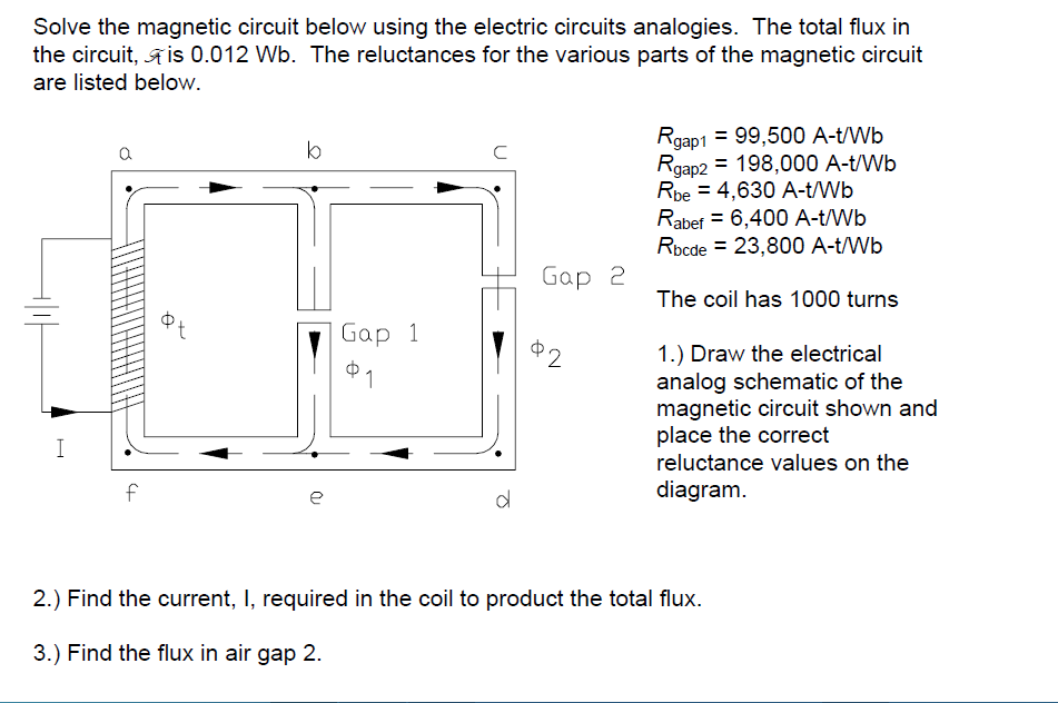 solved solve the magnetic circuit below using the electri rh chegg com electric motor coil diagram electric fan coil diagram