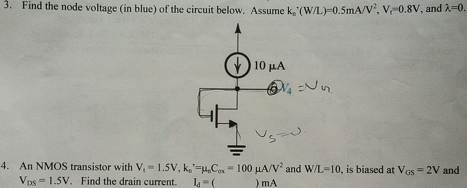 Solved 3 Find The Node Voltage In Blue Of Circuit To Use Nmosfet Instead Pmosfet Electrical Engineering Question 2