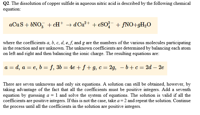 Solved: Q2  The Dissolution Of Copper Sulfide In Aqueous N