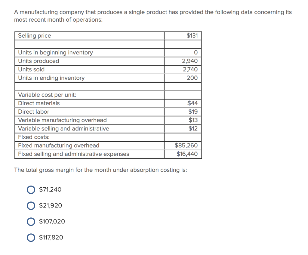 maffei company which has only one product has provided the following data concerning its most recent