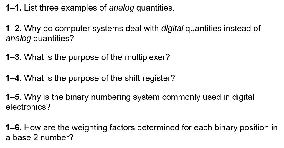 Solved 1 1 List Three Examples Of Analog Quantities 1 2