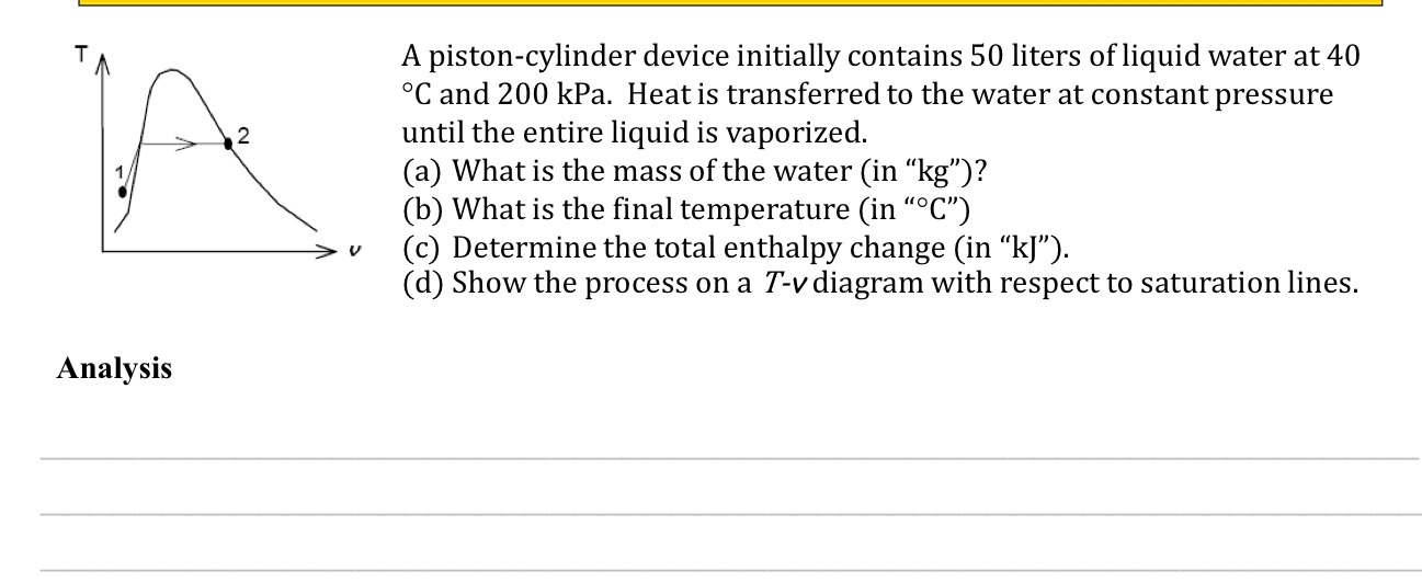 Image For A Piston Cylinder Device Initially Contains 50 Liters Of Liquid Water At 40
