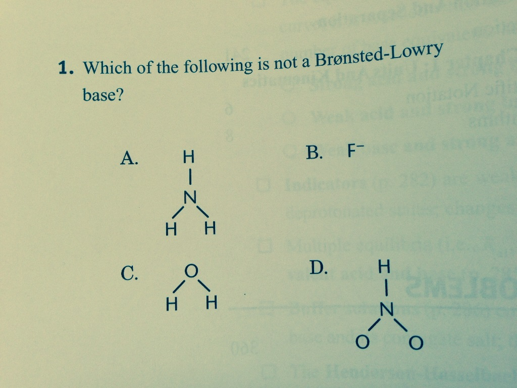solved answer is d but why can t hno2 accept a proton a