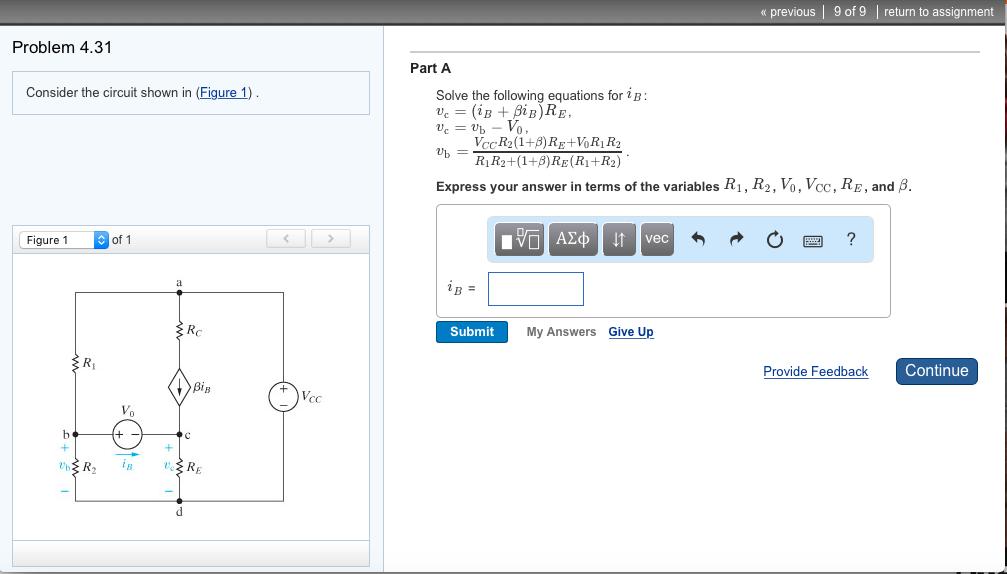 Solved: Solve The Following Equations For IB: Vc=(iB+βiB)R