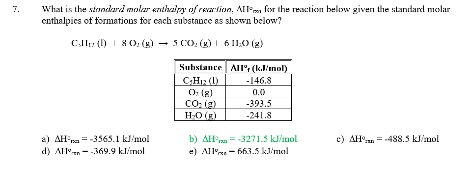 Solved: What Is The Standard Molar Enthalpy Of Reaction, F ...