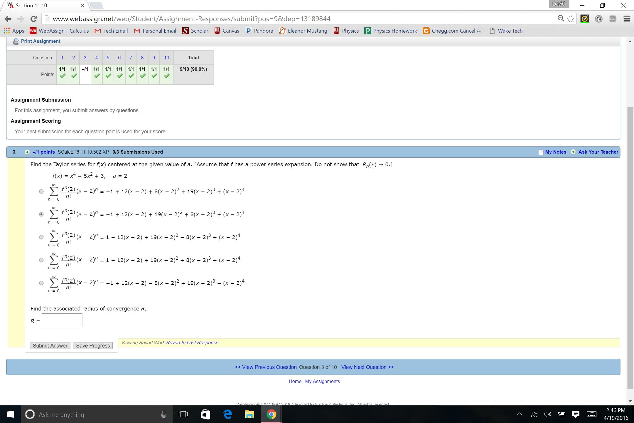 Solved: Section 11 10 David ←÷ C ーwww webassign net/web/S
