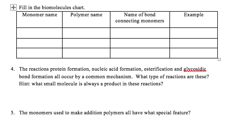 solved fill in the biomolecules chart monomer namepolym