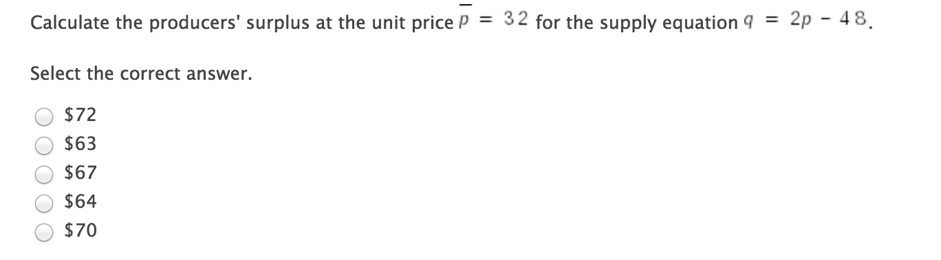 calculate the producers surplus at the unit price