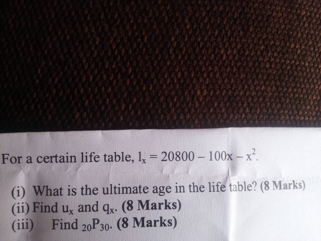 Solved: For A Certain Life Table, L 20800-100x-x (i) What
