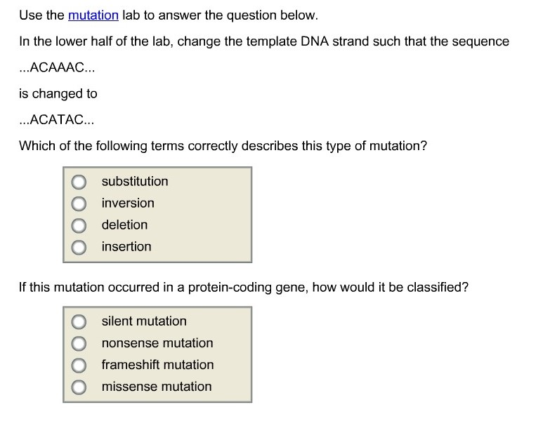 Solved use the mutation lab to answer the question below use the mutation lab to answer the question below in the lower half of the maxwellsz