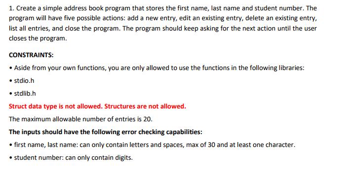 1 create a simple address book program that store chegg com