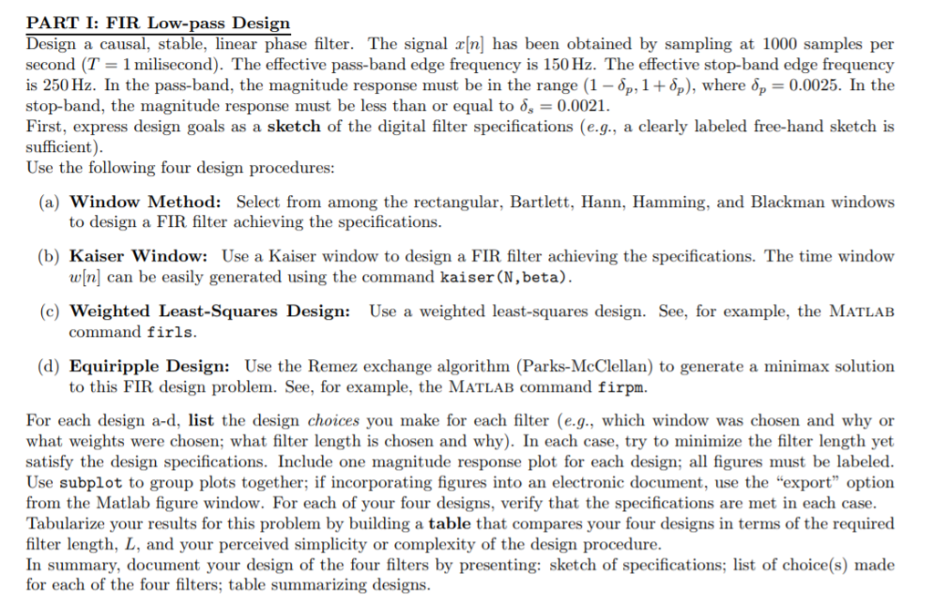 PART I: FIR Low-pass Design Design A Causal, Stabl