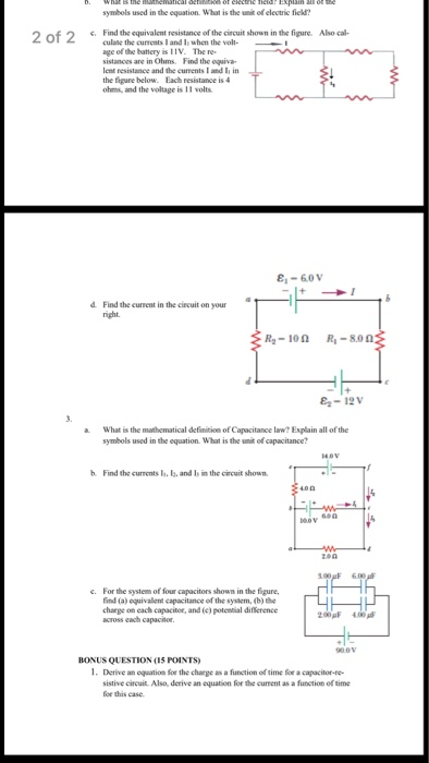 Solved What Is The Mathematical Definition Of Electric Fi