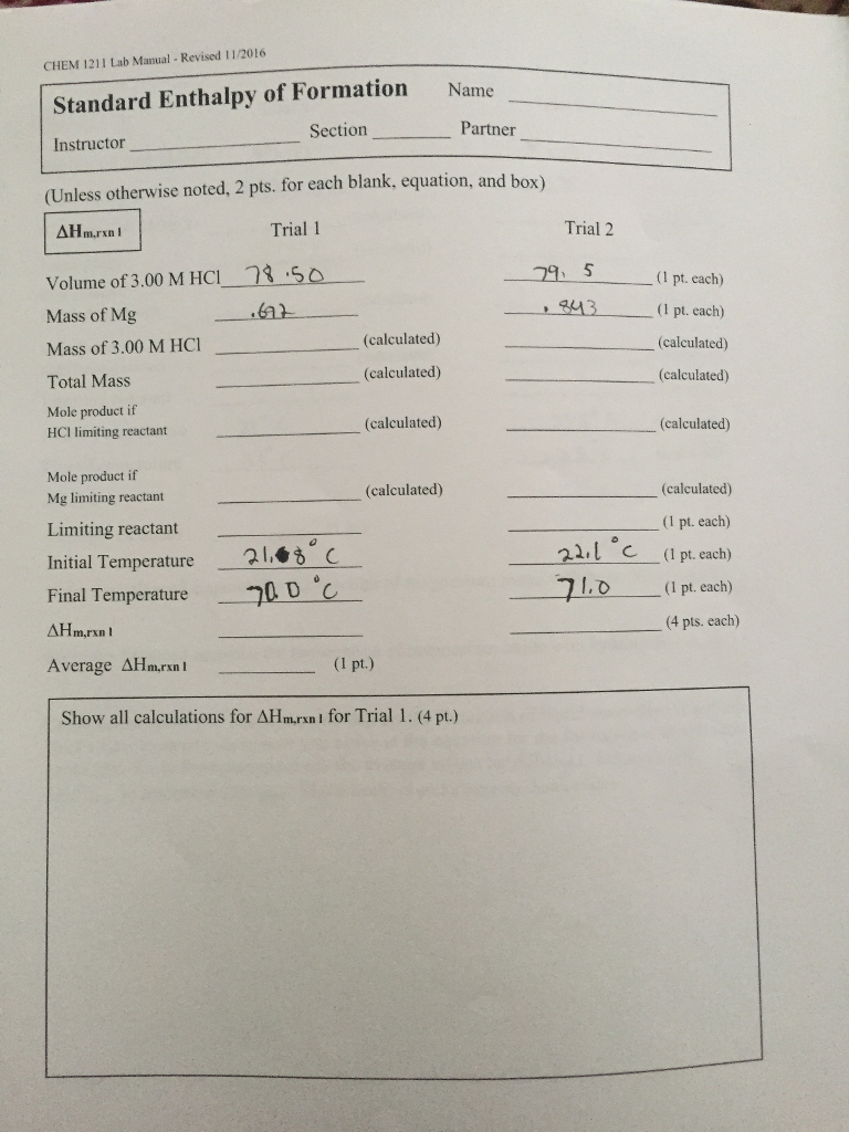 solved volume of 3 00 m hci mass of mg rh chegg com chem 1211 lab manual answers chemical reactions