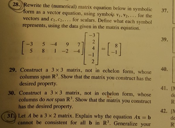 Solved 28 Rewrite The Numerical Matrix Equation Below