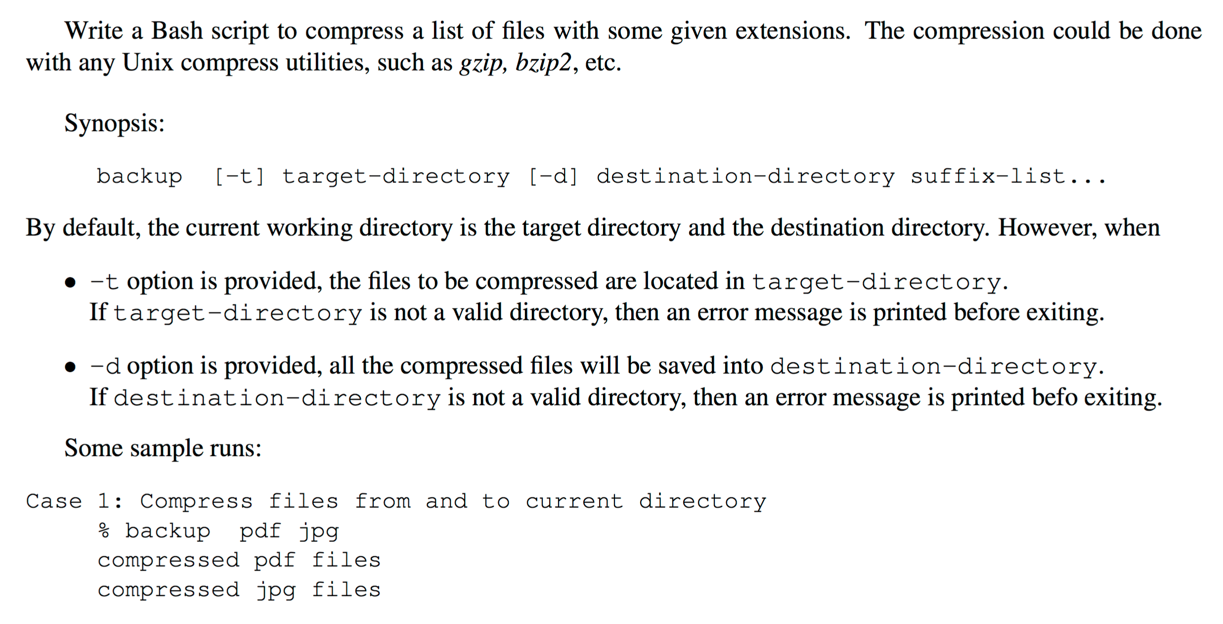 Write A Bash Script To Compress A List Of Files Wi