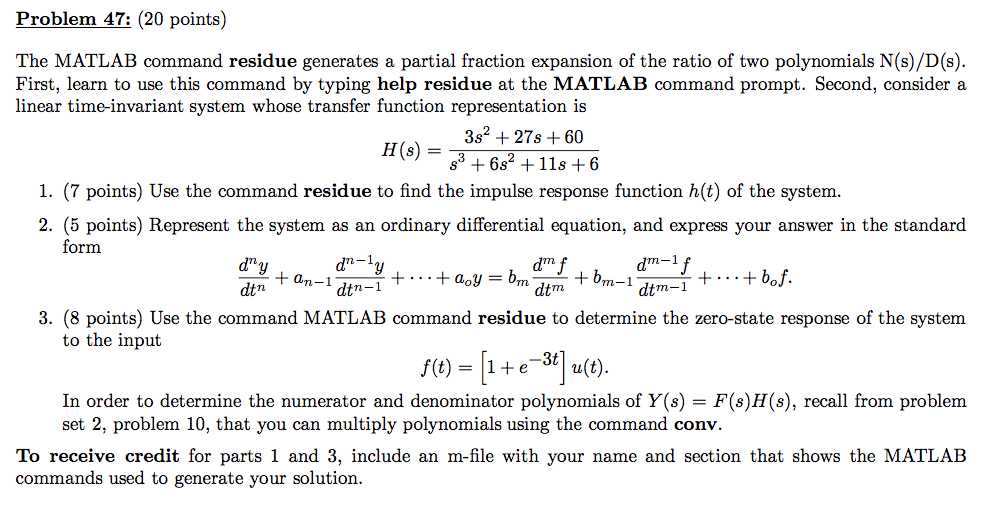 Solved Problem 47 20 Points The Matlab Command Residue