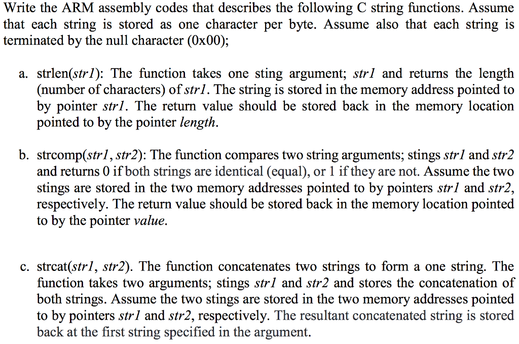 Solved: Write The ARM Assembly Codes That Describes The Fo