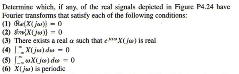 Determine which, if any, of the real signals depicted in Figure P4.24 have Fourier transforms that satisfy each of the following conditions: (3) There exists a real α such that ejaX(Joo) is real (6) X(j) is periodic