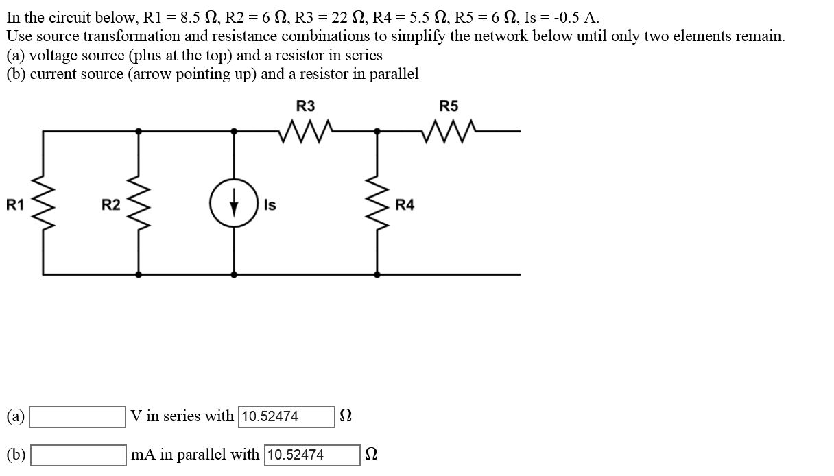 5 Series Resistors Circuit Current Source Wiring Diagram And Ebooks Simple Parallel Solved In The Below R1 8 Ohm R2 6 R3 Rh Chegg Com