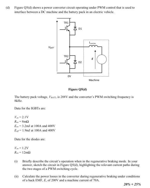 d) Figure Q5(d) Shows A Power Converter Circuit O    | Chegg com