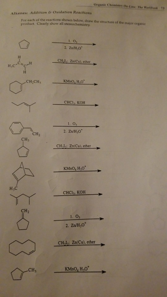 Solved: Organic Chemistry Ou-Line: The Workbook 7 Alkenes ...